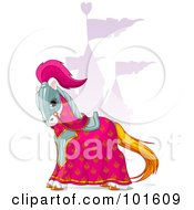 Royalty Free RF Clipart Illustration Of A Knights Horse Near A Purple Castle