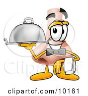 Nose Mascot Cartoon Character Dressed As A Waiter And Holding A Serving Platter