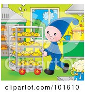 Royalty Free RF Clipart Illustration Of An Elf Pushing A Cart Of Bread In A Bakery by Alex Bannykh