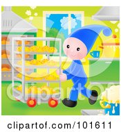 Royalty Free RF Clipart Illustration Of A Bakery Elf Pushing A Cart Of Breads by Alex Bannykh