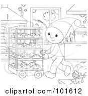 Royalty Free RF Clipart Illustration Of A Coloring Page Outline Of A Chef Elf Pushing A Cart Of Breads by Alex Bannykh