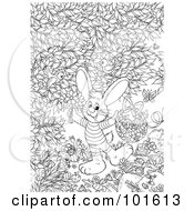 Royalty Free RF Clipart Illustration Of A Coloring Page Outline Of An Easter Bunny Holding Flowers And A Basket