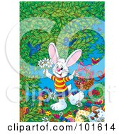 Royalty Free RF Clipart Illustration Of An Easter Bunny Holding Flowers And A Basket Under A Tree
