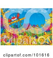 Royalty Free RF Clipart Illustration Of A Red Crab And Sunken Treasure On The Ocean Floor