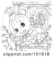 Royalty Free RF Clipart Illustration Of A Coloring Page Outline Of A Happy Onion Reading