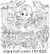 Royalty Free RF Clipart Illustration Of A Coloring Page Outline Of A Little Girl In A Strawberry Patch by Alex Bannykh