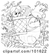 Royalty Free RF Clipart Illustration Of A Coloring Page Outline Of Goldilocks In A Bears Basket