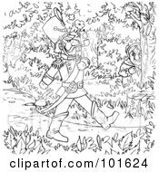 Royalty Free RF Clipart Illustration Of A Coloring Page Outline Of A Soldier Marching Through The Woods by Alex Bannykh