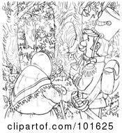 Royalty Free RF Clipart Illustration Of A Coloring Page Outline Of An Old Woman And Soldier In The Woods by Alex Bannykh