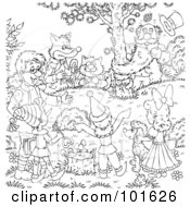 Royalty Free RF Clipart Illustration Of A Coloring Page Outline Of Friends Gathered Around A Tree
