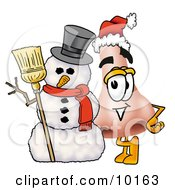 Clipart Picture Of A Nose Mascot Cartoon Character With A Snowman On Christmas by Toons4Biz
