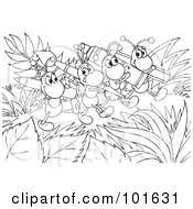 Royalty Free RF Clipart Illustration Of A Coloring Page Outline Of Happy Ants Carrying Art Supplies by Alex Bannykh