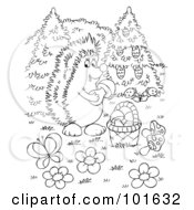 Royalty Free RF Clipart Illustration Of A Coloring Page Outline Of A Hedgehog Gathering Mushrooms