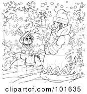 Royalty Free RF Clipart Illustration Of A Coloring Page Outline Of A Winter Man Talking To A Girl