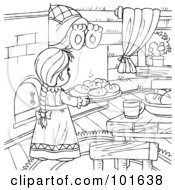 Royalty Free RF Clipart Illustration Of A Coloring Page Outline Of A Girl Baking In A Bears Kitchen