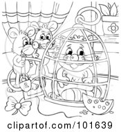 Royalty Free RF Clipart Illustration Of A Coloring Page Outline Of Mice Locking A Cat In A Cage