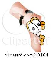 Clipart Picture Of A Nose Mascot Cartoon Character Peeking Around A Corner by Toons4Biz