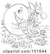 Royalty Free RF Clipart Illustration Of A Coloring Page Outline Of A Whale Playing An Accordion To Fish