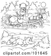 Royalty Free RF Clipart Illustration Of A Coloring Page Outline Of Fox Running By A Sled