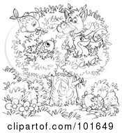 Royalty Free RF Clipart Illustration Of A Coloring Page Outline Of A Fox And Badger With Fish In A Tree by Alex Bannykh