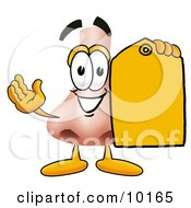Nose Mascot Cartoon Character Holding A Yellow Sales Price Tag
