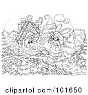 Royalty Free RF Clipart Illustration Of A Coloring Page Outline Of Fox Looking Out A Window At A Homeless Rabbit by Alex Bannykh