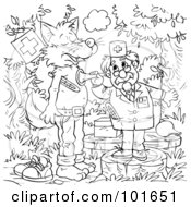 Royalty Free RF Clipart Illustration Of A Coloring Page Outline Of A Veterinarian Helping A Sick Wolf by Alex Bannykh