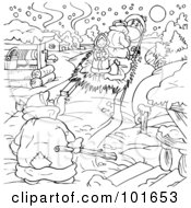 Royalty Free RF Clipart Illustration Of A Coloring Page Outline Of A Girl Riding Away On A Sled