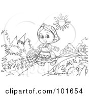 Royalty Free RF Clipart Illustration Of A Coloring Page Outline Of Little Red Riding Hood Walking Near A Village by Alex Bannykh