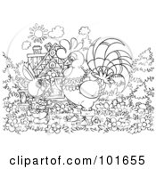 Royalty Free RF Clipart Illustration Of A Coloring Page Outline Of A Rabbit And Rooster By A Cottage by Alex Bannykh