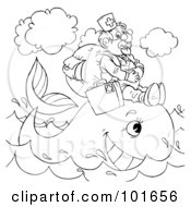 Royalty Free RF Clipart Illustration Of A Coloring Page Outline Of A Veterinarian Helping A Whale by Alex Bannykh