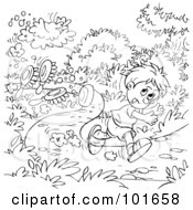 Royalty Free RF Clipart Illustration Of A Coloring Page Outline Of A Boy Running Down A Path by Alex Bannykh