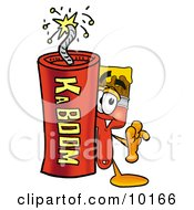 Paint Brush Mascot Cartoon Character Standing With A Lit Stick Of Dynamite