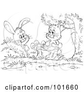 Royalty Free RF Clipart Illustration Of A Coloring Page Outline Of A Squirrel And Rabbit By A Stump