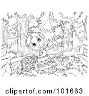 Royalty Free RF Clipart Illustration Of A Coloring Page Outline Of A Girl Picking Strawberries In The Woods by Alex Bannykh