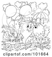Royalty Free RF Clipart Illustration Of A Coloring Page Outline Of A Fish Couple Kissing And Walking Their Baby