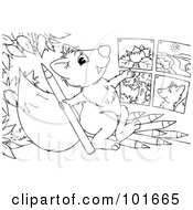 Royalty Free RF Clipart Illustration Of A Coloring Page Outline Of A Squirrel Drawing Pictures by Alex Bannykh