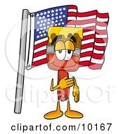 Clipart Picture Of A Paint Brush Mascot Cartoon Character Pledging Allegiance To An American Flag by Toons4Biz