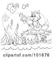 Royalty Free RF Clipart Illustration Of A Coloring Page Outline Of A Fox Lighting A Match