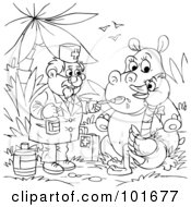 Royalty Free RF Clipart Illustration Of A Coloring Page Outline Of A Veterinarian Giving Medicine To A Hippo And Ostrich by Alex Bannykh