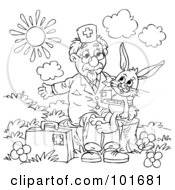 Royalty Free RF Clipart Illustration Of A Coloring Page Outline Of A Veterinarian Helping A Sick Rabbit by Alex Bannykh