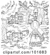 Royalty Free RF Clipart Illustration Of A Coloring Page Outline Of Little Red Riding Hood Approaching A House by Alex Bannykh