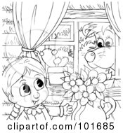 Royalty Free RF Clipart Illustration Of A Coloring Page Outline Of A Bear Watching A Girl