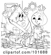 Royalty Free RF Clipart Illustration Of A Coloring Page Outline Of An Onion And Lemon In The Sun