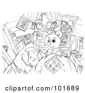 Royalty Free RF Clipart Illustration Of A Coloring Page Outline Of A Bear Watching A Girl Sleep