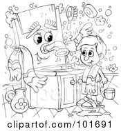 Royalty Free RF Clipart Illustration Of A Coloring Page Outline Of A Boy Talking To A Sink by Alex Bannykh