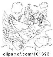 Royalty Free RF Clipart Illustration Of A Coloring Page Outline Of A Doctor Flying On An Eagle by Alex Bannykh