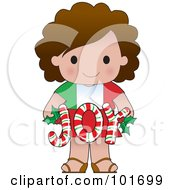 Cute Italian Girl Holding Joy Christmas Candy Canes
