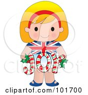 Cute British Girl Holding Joy Christmas Candy Canes