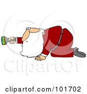 Santa Claus Crawling And Holding A Flashlight